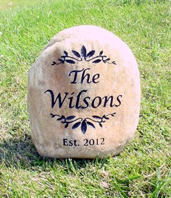 engraved river rock garden stone 13 15 inch - Personalized Garden Stones