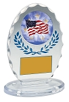 Standing Oval Sculpted Ice Blue Accent Acrylic Award 5.25