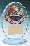 Standing Oval Sculpted Ice Red Accent Acrylic Award 6.375