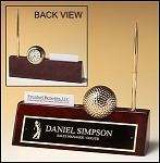 Golf Clock, Pen and Business Card Holder Desk Nameplate