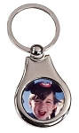 Silver Pear Photo Keychain