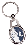 Oval Silver Photo Keychain
