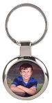 Round Silver Photo Keychain