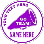 Cheerleading Megaphone Round Vehicle Magnet Personalized 5.75 inch