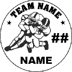 Football Player Round Vehicle Magnet Personalized 5.75 inch