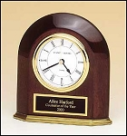 Arched Table Clock Rosewood Piano Finish with Solid Brass Base