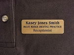 Employee ID Name Tag Badge 1x3 Brass with Magnetic Back