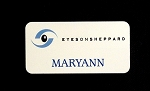 White Aluminum Employee ID Identification Name Tag Badge 1.5x3 Full Color Printed with pin OR magnetic back