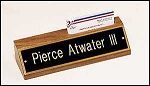 Desk Office Nameplate Walnut with Business Card holder