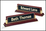 Desk Office Nameplate rosewood piano-finish with gold accents