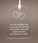Beveled Glass Wedding Anniversary Arch Ornament  Personalized