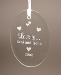 Beveled Glass Wedding Anniversary Oval Ornament  Personalized