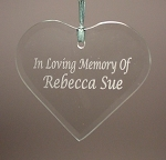 Beveled Glass Heart  Ornament  Personalized