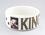 Personalized Ceramic Pet Food Bowl Large Size  printed with your pets photo and name