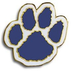 Paw Print Pin  Blue and White