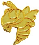 Hornet Mascot Gold Lapel Pin
