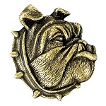 Bulldog Antique Brass Lapel Pin