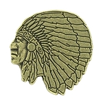 Indian Head Antique Brass Pin