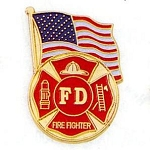 Fire Department Fighter USA Flag Lapel Pin