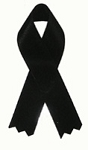 BLACK Mourning Satin Ribbon Pin (pack of 4)