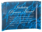 Acrylic Crescent Blue Marble Finish Plaques  Available in 4 sizes