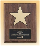 Walnut Piano Finish Star Plaque 12 x 15
