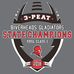 3-PEAT Football State Champions Charcoal Grey Apparel