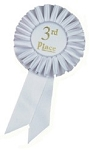 3rd Place White Rosette Award Ribbon 3x6