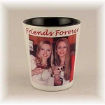 Photo Printed Ceramic Shot Glass White with Black Interior 1.9 oz