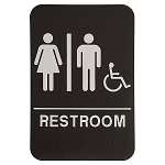 Unisex ADA Bathroom Handicap Accessible Sign 6x9 Black