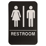 Unisex Mens and Womens Bathroom ADA Sign 6x9 Black