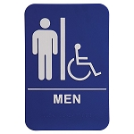 Mens Bathroom Handicap Accessible ADA Sign 6x9 Blue