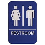 Unisex Mens and Womens Bathroom ADA Sign 6x9 Blue