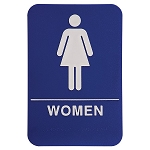 Womens Bathroom ADA Sign 6x9 Blue