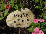 Cat Paw Print Pet Memorial Grave Marker Garden Stone River Rock 7