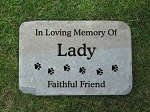 Dog Paw Print Memorial Bluestone 12x18