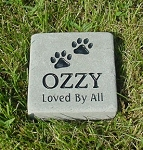 Dog Paw Print Memorial Bluestone 6x6