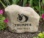 Rabbit Bunny Pet Memorial Grave Marker Garden Stone River Rock 7