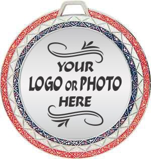 Bling Red White and Blue Custom Logo Photo Insert Medal