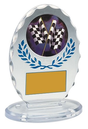 Standing Oval Sculpted Ice Blue Accent Acrylic Award 5.25""