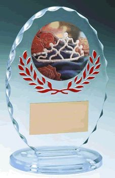 Standing Oval Sculpted Ice Red Accent Acrylic Award 6.375""