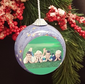 Santa Sleigh Photo Ornament