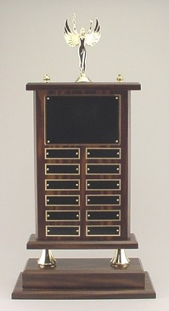 Perpetual Trophy Wood Base with 12 Name Plates