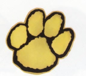 Paw Print Pin  Gold and Black