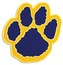 Paw Print Pin  Blue and Gold