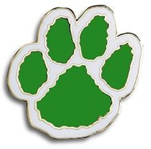 Paw Print Pin  Green and White