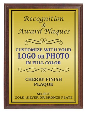 5x7 Traditional Plaque Cherry Finish