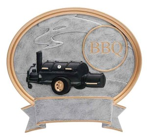 BBQ Grill Resin Oval Plaque 6""