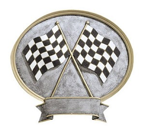 Racing Flag Resin Oval Award Plaque