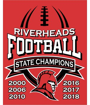 RHS Football State Champions RED APPAREL with Years